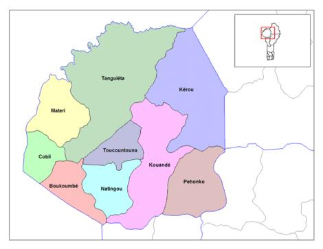 Carte des communes de l'Atakora.